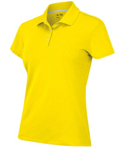 adidas Golf Women's Climacool Textured Solid Polo, Vivid Yellow, Large