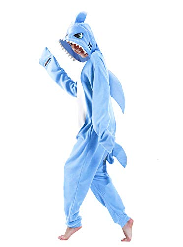 dressfan Unisex Adult Kids Cartoon Animal Blue Shark Onesie Pajamas Cosplay Costume Halloween Blue XXL -