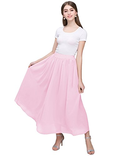 - Kileyi Women's Long A Line High Elastic Waist Swing Chiffon Pleated Midi Skirt Pink XXL