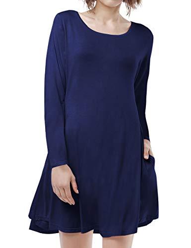 BELAROI Women's Casual Flowy Swing Loose Long Sleeve Dress with Pocket Plus Size Knee Length(1X,Navy Blue) ()