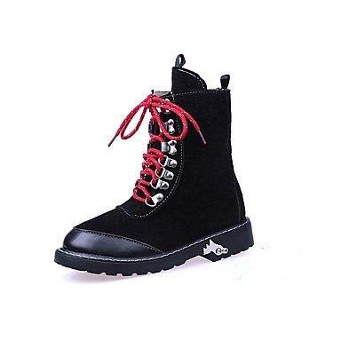 RTRY Zapatos De Mujer De Cuero De Nubuck Moda Otoño Invierno Botas Botas De Combate Bootie Botines Botas/Botines De Casual Marrón Negra US6 / EU36 / UK4 / CN36