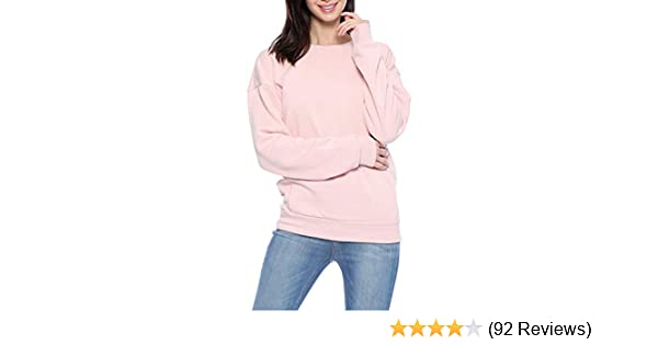 Alion Womens Solid Color Fleece Lined Pullover Thick Long Sleeve Sweatshirt