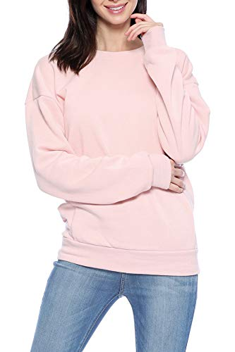 Pink Womens Sweatshirt - Urban Look Casual Loose Fit Fleece Pullover Sweatshirt (Large, Solid Blush Pink)