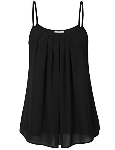 Vivilli Summer Tank Tops Sleeveless, Womens Soft Chiffon Casual Lightweight Layered Camisole, Black Large ()