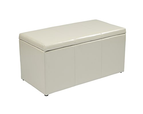 Bonded Leather Cube Ottoman (Office Star Metro 3-Piece Bench and Ottoman Cube Set in Eco Leather, Cream)