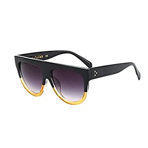GAMT Vintage Top Flat Full Rimmed Plastic Cateye Sunglasses Black-yellow