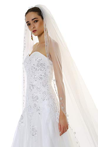 (Passat Ivory 1 Tier 3M NEW! Floral Beaded Scallop Edge Cathedral Wedding Bridal Veil 224)