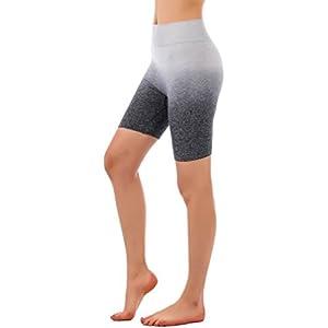 "RUNNING GIRL Ombre Shorts 7.5"" Yoga Running Bike Active Shorts Power Flex High Waist Tummy Control"