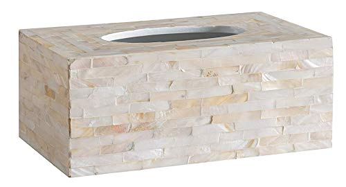 Holder Classic Tissue - Abington Lane Mother of Pearl Rectangular Tissue Box - Decorative Tissue Holder Cover Great for Countertops, Night Stands, Dressers, Desk Tables, Bathroom Accessories (Classic Ivory)
