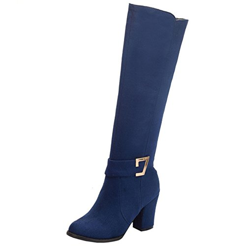 Knee Zip Blue Women Buckle Classical Coolcept Heel 414 High Boots Block qt7Uaw