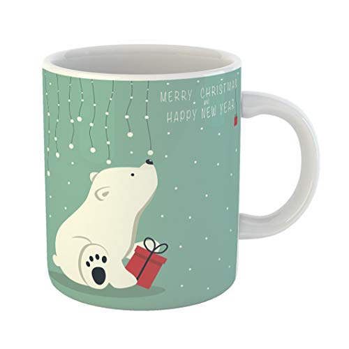(Emvency 11 Ounces Coffee Mug the Depicts Seated Little Polar Bear Box Garland of Snow Balls Over and Phrase Merry Christmas Happy New Year on Blue White Ceramic Glossy Tea Cup With Large C-handle)