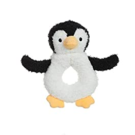 Apricot Lamb Baby Penguin Soft Rattle Toy, Plush Stuffed Animal for Newborn Soft Hand Grip Shaker Over 0 Months (Brown Penguin, 4 Inches)