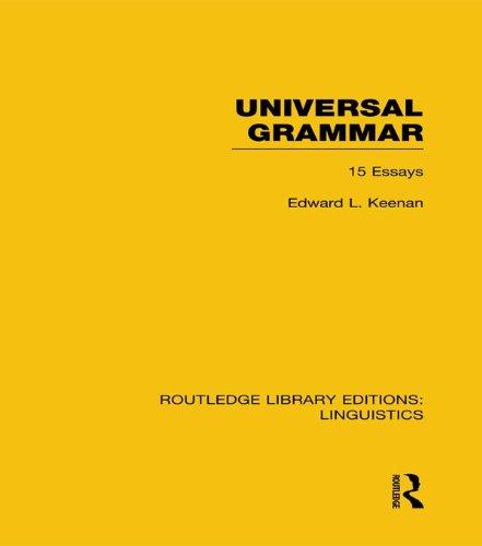 Download Universal Grammar (RLE Linguistics A: General Linguistics) (Routledge Library Editions: Linguistics) Pdf