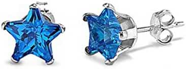Sterling Silver Dark Blue 6mm Star Cubic Zirconia CZ Stud Earrings