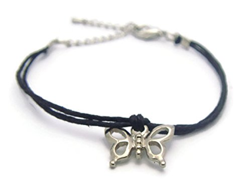 ZVACE Silver Butterfly Charm Pendant Small Bracelet Adjustable (Black), (Silver Small Butterfly Charm)
