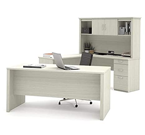 Amazon.com: Modern U-Shaped Office Desk with Hutch in White ...