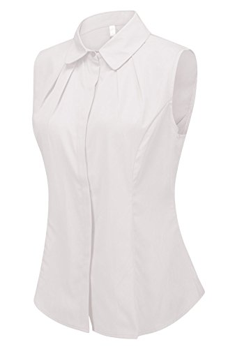 Double Plus Open Women's Cotton Collared Sleeveless Button Down Shirt Collared Pleated Blouse White 6