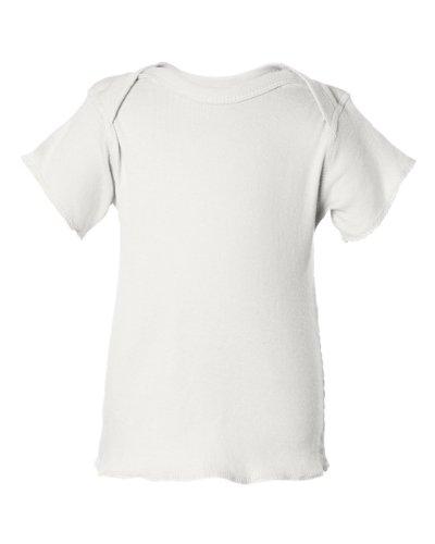 Rabbit Skins Baby 5 Oz. Baby Rib Lap Shoulder T-Shirt (R3400)- White,12 Months