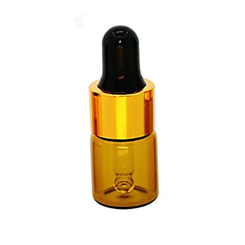 100Pcs 2ml Mini Cute Amber Glass Essential Oil Dropper Bottles with Eye Dropper Dispenser for Perfume Cosmetic Liquid Aromatherapy Sample Storage Jar Vial Containers Kitchen Tool, Gold Screw Cap