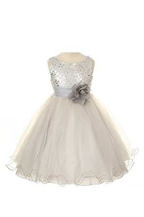Sequin Bodice Tulle Special Occasion Holiday Flower Girl Dress - Silver 3-4
