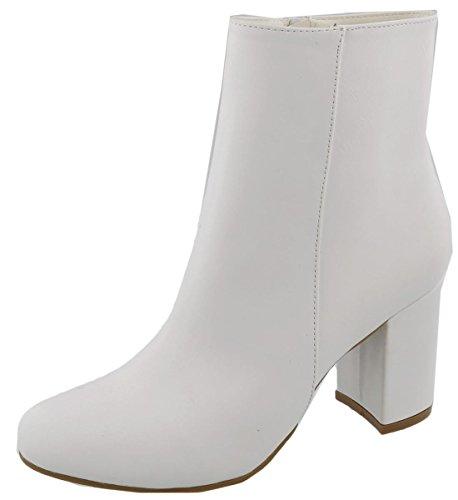 Top Moda Women's Mid Calf Stacked Block Heel Bootie (10 B(M) US, (White Womens Boots)