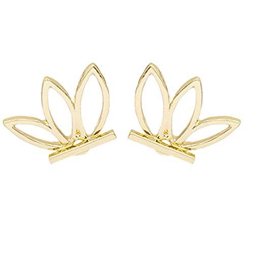 Lotus Studs Ear Crawler Earrings Cuff Climber Ear Wrap Pin Vine Pierced Charms Geometric Clip On Jewelry Golden Plated (Gold Cat Earring Cuff)