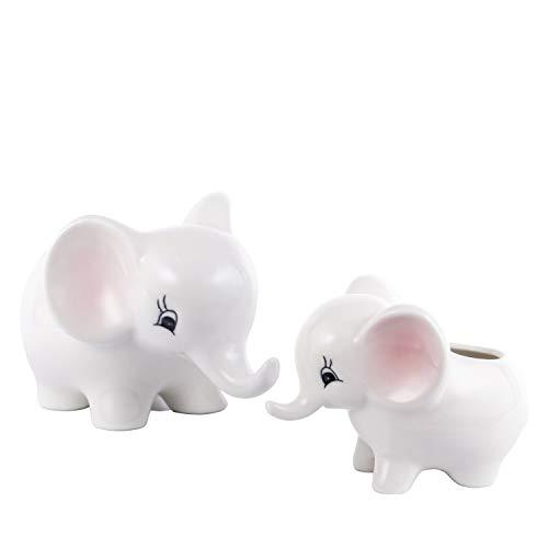 DOYOLLA Elephants Succulent Planters Ceramic Flower Pots Vases Set of - Vase Elephant