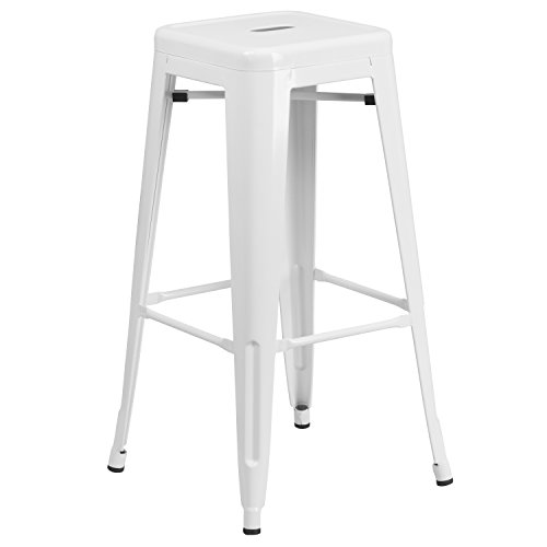 "Flash Furniture 30"" High Backless White Metal"