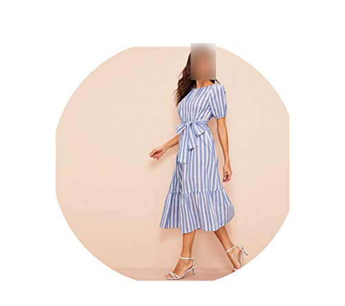 MOMOAAA Lady Pleated Detail Beltedstriped Dress Women Casual Cotton High Waist Puff Sleeve Summer Dress,Multi,M