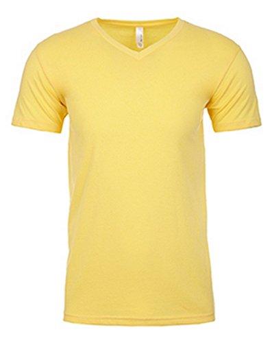 Next Level Men's Sueded Baby Rib Soft V-Neck T-Shirt, Banana Cream, XX-Large