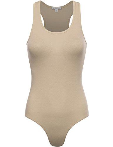 FPT Womens Basic Racerback Tank Top Bodysuit NUDE LARGE