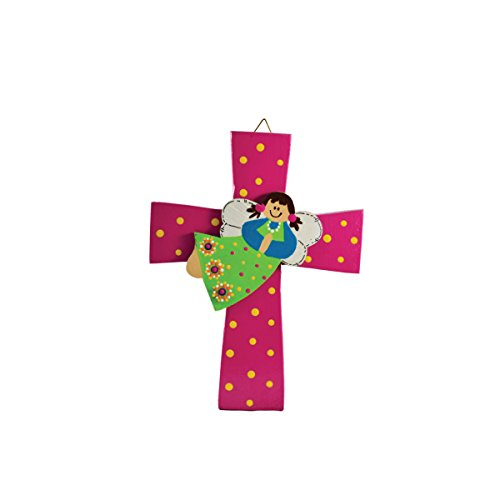 Costa Rican hand painted wall cross with angel (Medium - Pink)