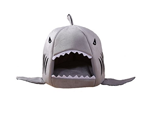 D-Foxes Cozy Shark Bed Puppy Cat Indoor Outdoor Cave Sweet House Bed Dog Play Room Bed with Removable Cushion Inside (L, Grey) by D-Foxes