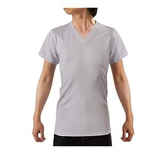[キュライン] インナーシャツ 脇汗パッド付きシャツ 半袖 Vネック tシャツ 脇汗 インナー 肌着 わきあせ メンズ 汗染み防止 抗菌防臭 速乾 多汗症