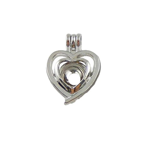JulieWang 10pcs Anitqued Silver Small Tiny Locket for Aromatherapy Essential Oil Diffuser Pendant Bead Cage Charms Double (Double Heart Pendant Jewelry)