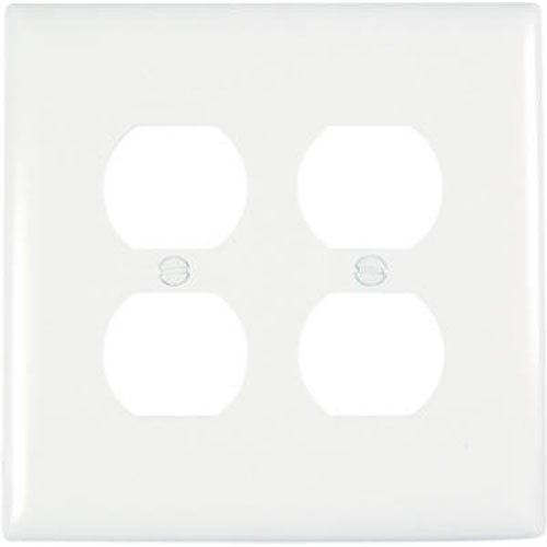 Pass & Seymour TPJ82WCC10 2 Gang Double Duplex Outlet Opening Wall Plate, Nylon, White