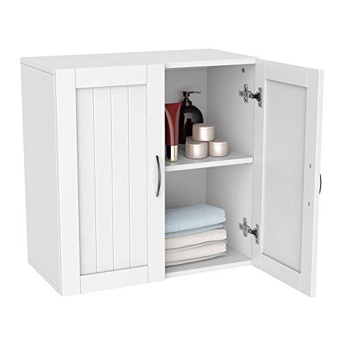 Topeakmart White Wooden Bathroom Wall Cabinet Toilet Medicine Storage Organizer with Adjustable Shelf Cupboard Unit