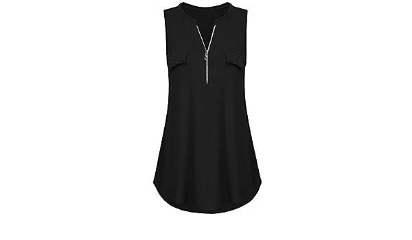 Chaleco de Mujer Camiseta Sin Mangas con Cremallera Color sólido ...