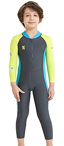 JELEUON Little Kids Boys Girls One Piece Sun Protection Long Sleeve UPF 50 Wetsuit Swimsuits for Surfing Diving Sailing XL by JELEUON