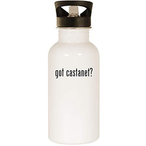 got castanet? - Stainless Steel 20oz Road Ready Water Bottle, White