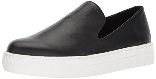 STEVEN by Steve Madden Women's Arden Sneaker, Black Leather, 8.5 M US