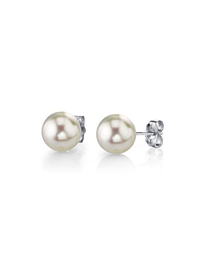 THE PEARL SOURCE 14K Gold AAA Quality Round White Cultured Akoya Stud Pearl Earrings for Women