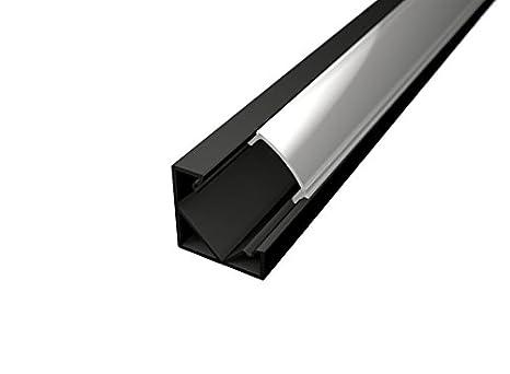 Perfil de 45° de aluminio negro 6063, modelo TL1919 - Barras de 2 m para tiras de LED con tapa mate (remates y ganchos de montaje incluidos) cover trasparente pianeta-led
