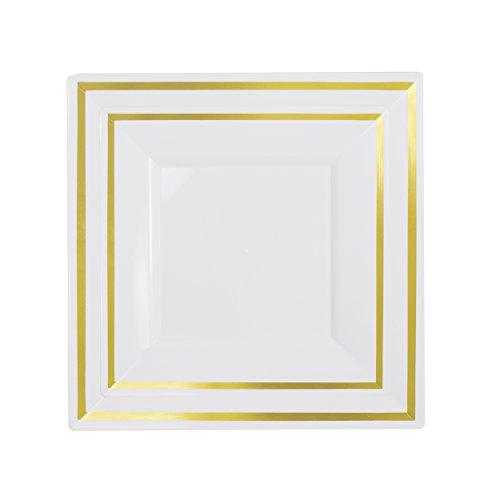 Exquisite 60-Pack premium disposable plastic plates, heavyweight square plastic plates: 30 x 10.25 Inch. Dinner Plates & 30 7.5 Inch. Salad/Dessert plates (Gold Reflective Rim)