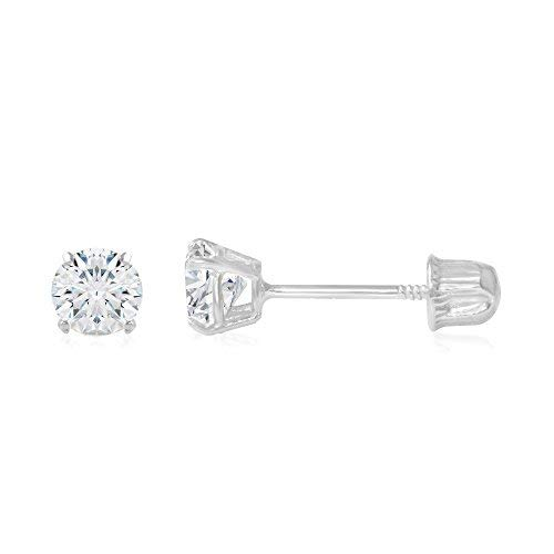 Ioka - 14K White Gold Round Solitaire Cubic Zirconia CZ Stud Screw Back Earrings - 0.25ct (4mm)