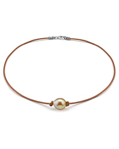 "The Pearl Source Sterling Silver 11-12mm Baroque Genuine Golden South Sea Cultured Pearl Leather Necklace in 16"" Choker Length for Women"