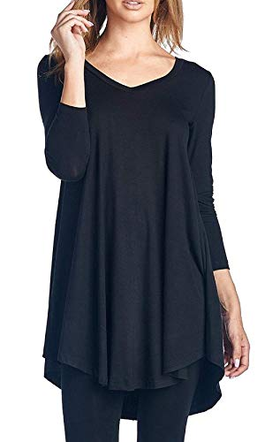 V A Neck Saoye Maglietta Casual Giovane Ragazze Shirts Bluse Maniche Primaverile Autunno Relaxed Accogliente Camicetta Donna Lunghe Eleganti Camicia Grauschwarz Fashion Monocromo Fqvxwqf0B