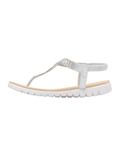 Toe Shoes Post Beach Flip Silver Women Flat KRISP Ladies Diamante Sandals Summer Party Flop BvtfZIHW