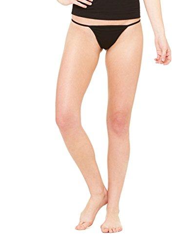 Bella+Canvas Tanga bikini de algodón spandex para mujer Negro