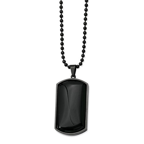 Lex & Lu Chisel Stainless Steel IP Black-Plated & Blk Agate Dog Tag Necklace 30